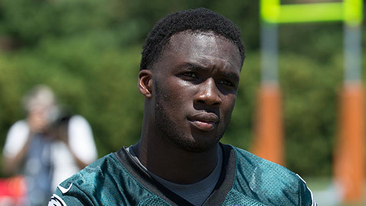 Philadelphia Eagles wide receiver Nelson Agholor (17) looks on during practice at NFL football training camp, Sunday, Aug. 2, 2015, in Philadelphia.