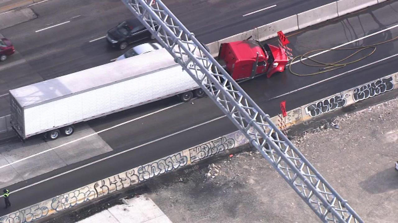 June 15, 2016: A tractor-trailer crash and fire shut down part of I-95 in the Port Richmond section of Philadelphia.