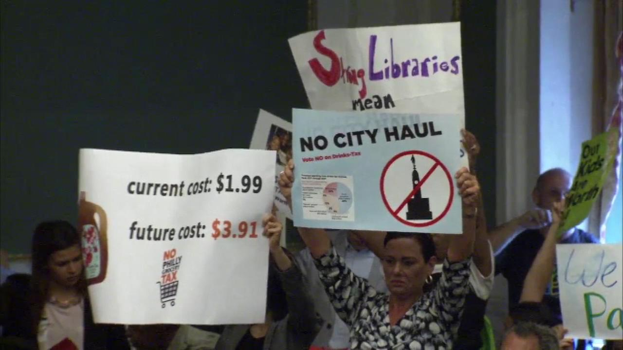 Those on both sides of the beverage tax issue made their voice heard in poster form during the vote at Philadelphia City Council.