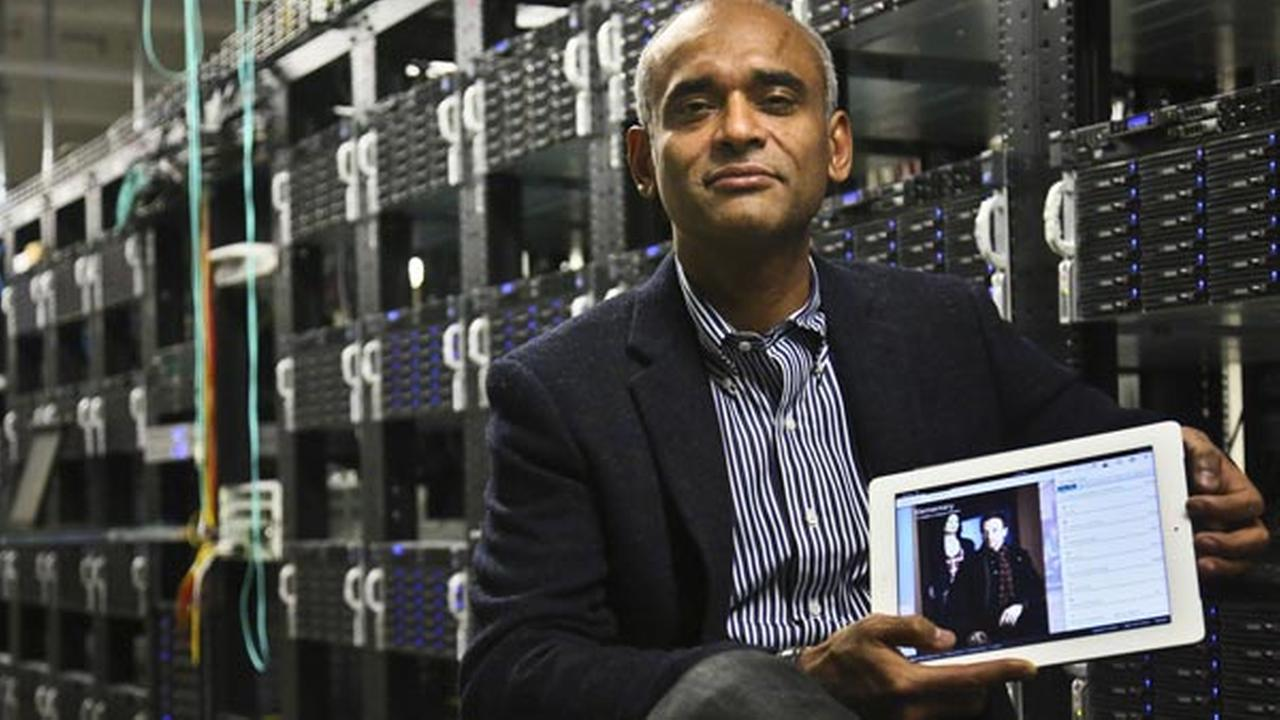 FILE - In this Thursday, Dec. 20, 2012, file photo, Chet Kanojia, founder and CEO of Aereo, Inc., shows a tablet displaying his companys technology, in New York.