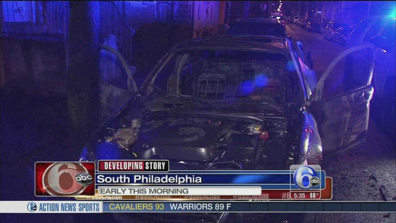 VIDEO: Car torched in South Philadelphia