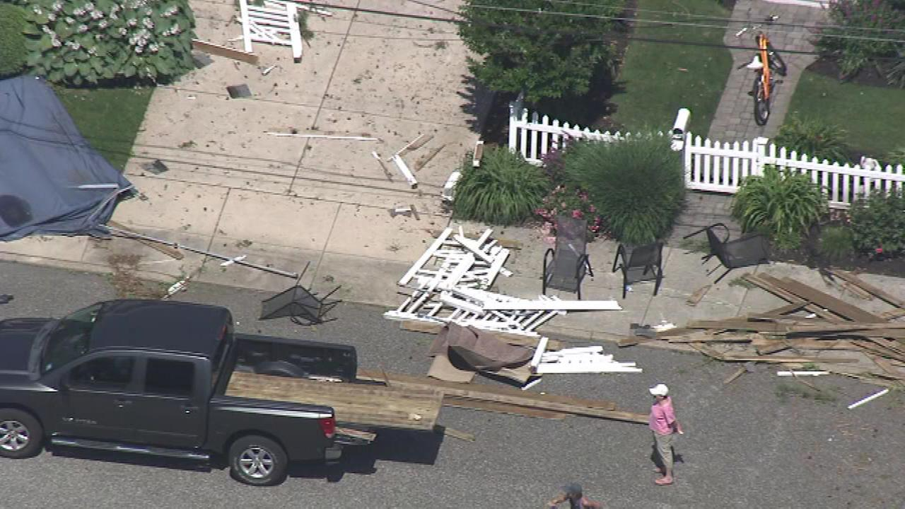 The cleanup begins after a powerful summer storm in Cape May County.