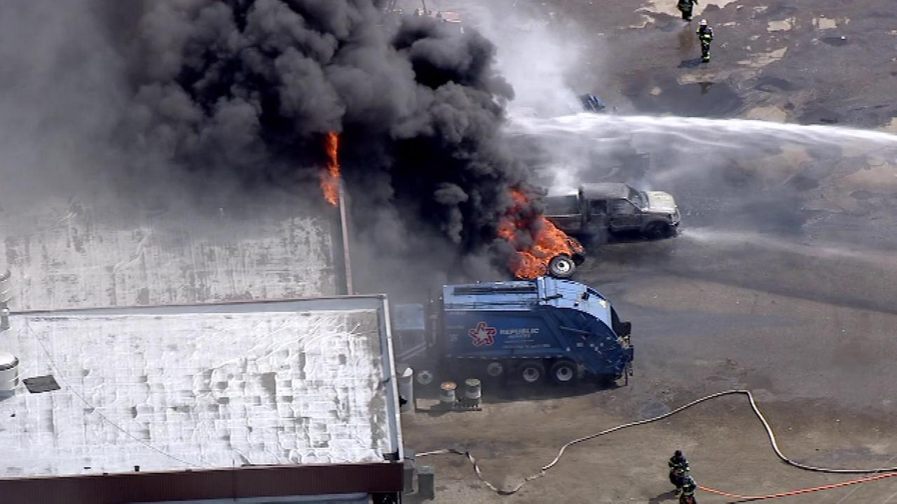 Firefighters battle a truck fire in Mount Laurel, NJ.
