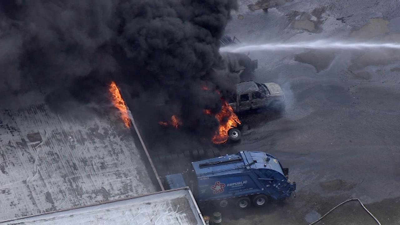 Firefighters battle a truck fire in Mount Laurel, NJ.