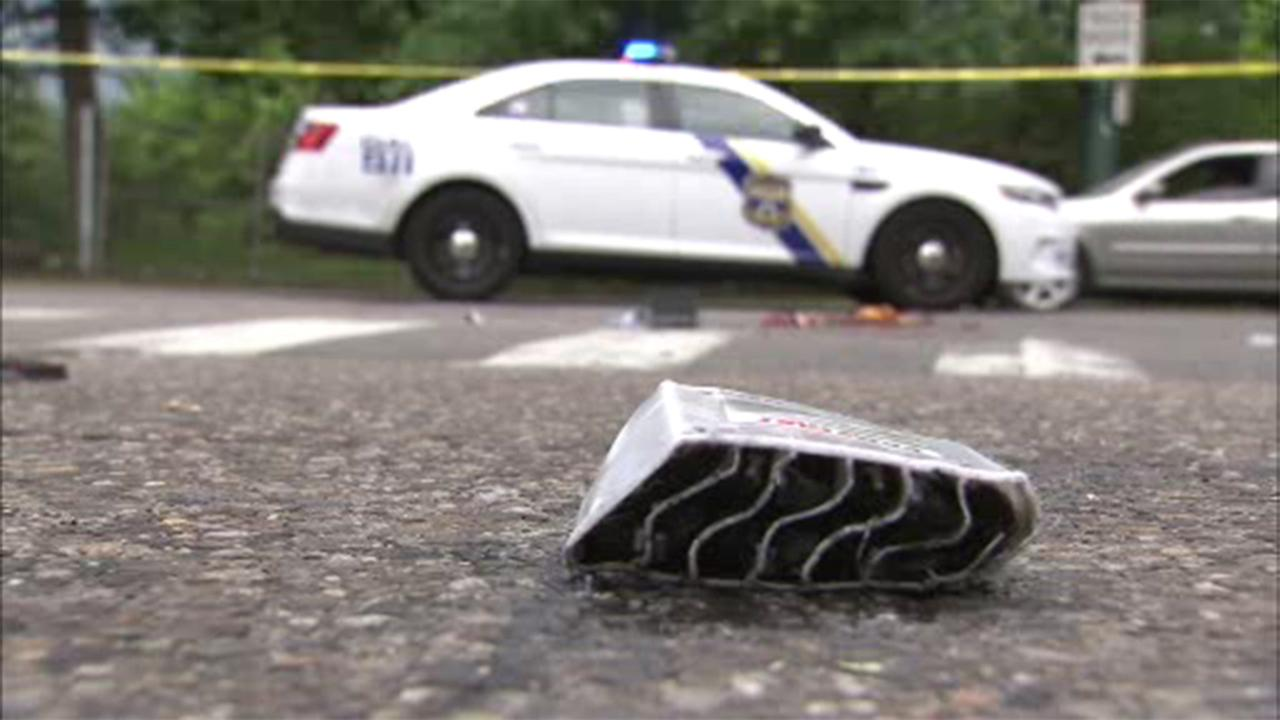 A man is critical after being struck by a car while allegedly riding a stolen moped in the Feltonville section of Philadelphia.