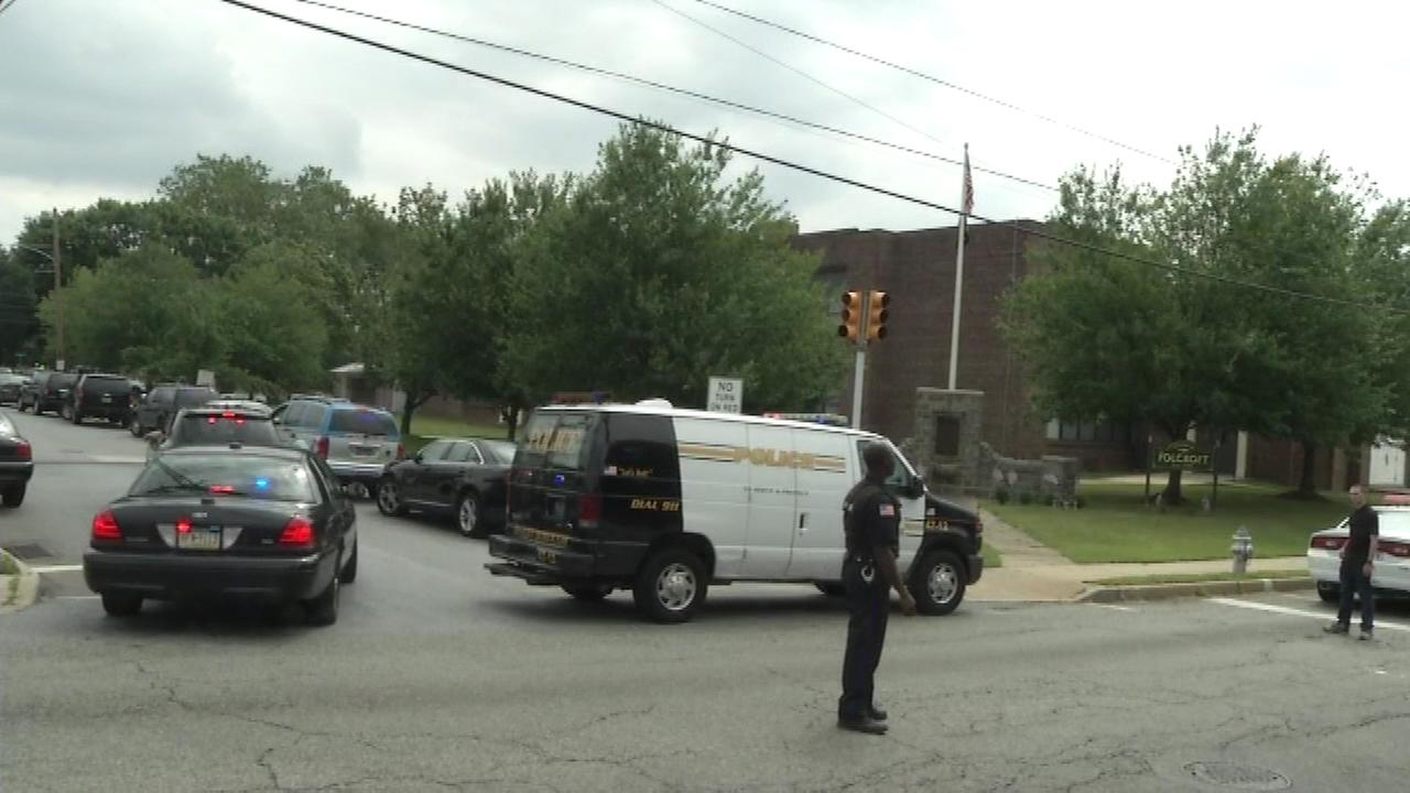 June 24, 2016: Police, SWAT units and ATF agents respond after a police officer is shot multiple times in Folcroft, Delaware County.
