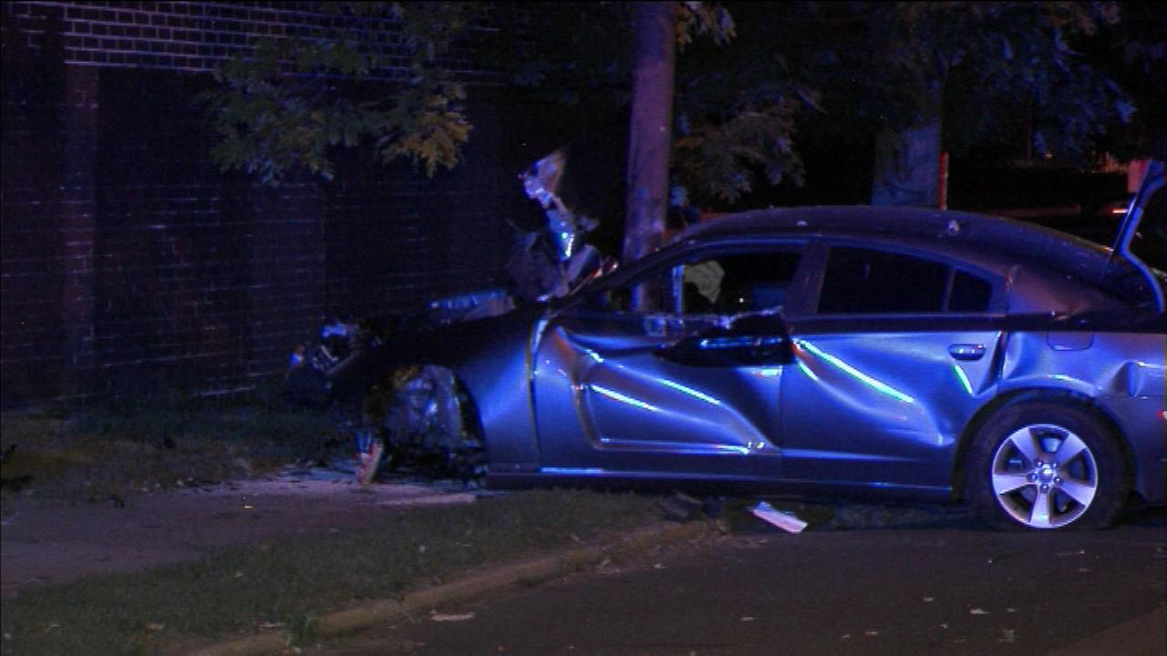 A young man is hospitalized after crashing into a utility pole in North Philadelphia.