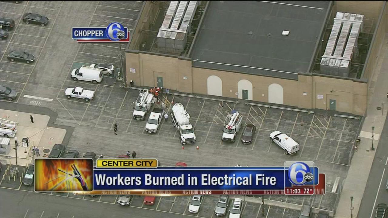 VIDEO: Workers burned in electrical fire