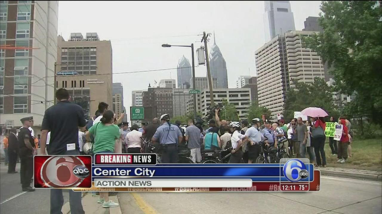 VIDEO: Protesters block traffic