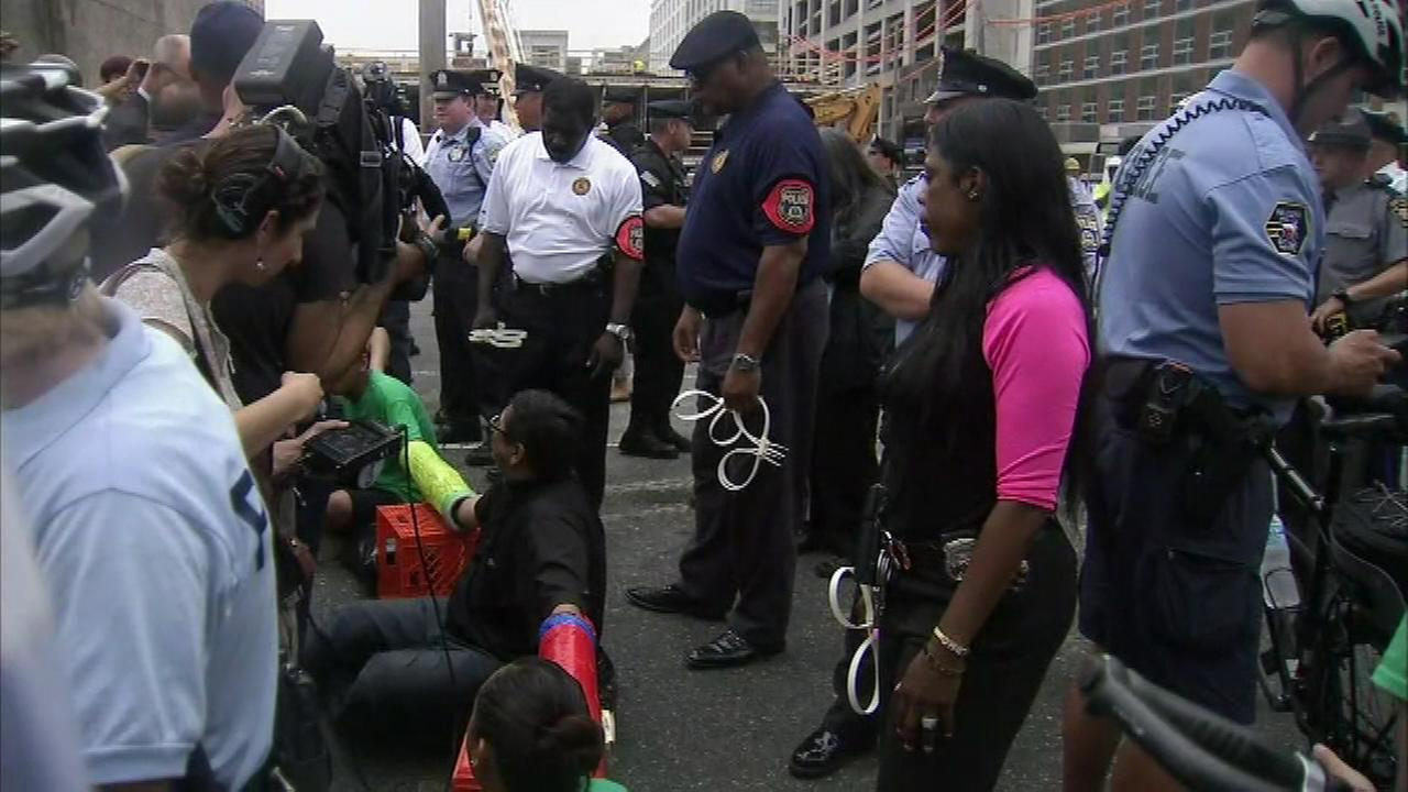 Pictured: The protest near the Vine Street Expressway in Center City Philadelphia.