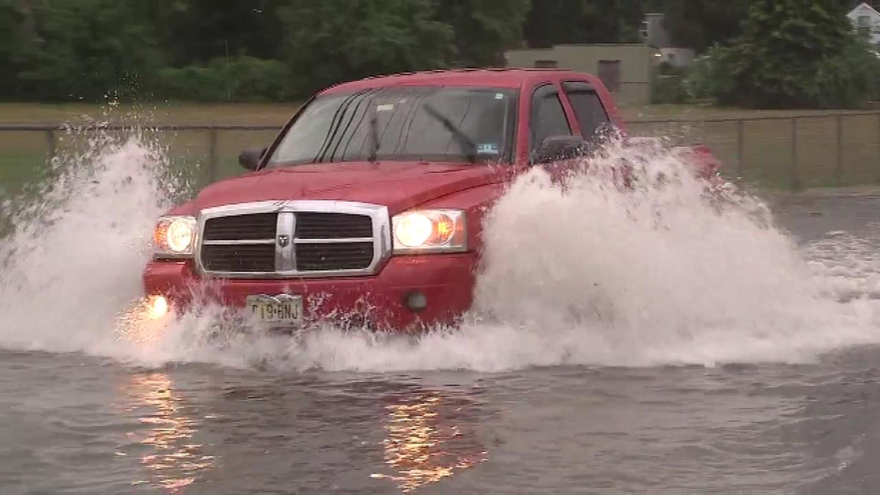 July 1, 2016: Heavy downpours caused flooding on streets in Vineland, N.J.