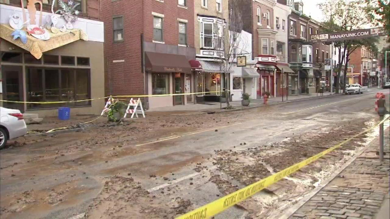 July 15, 2016: Video from the Action Cam at the scene showed water, mud and debris spread across both sides of the 4300 block of Main Street.
