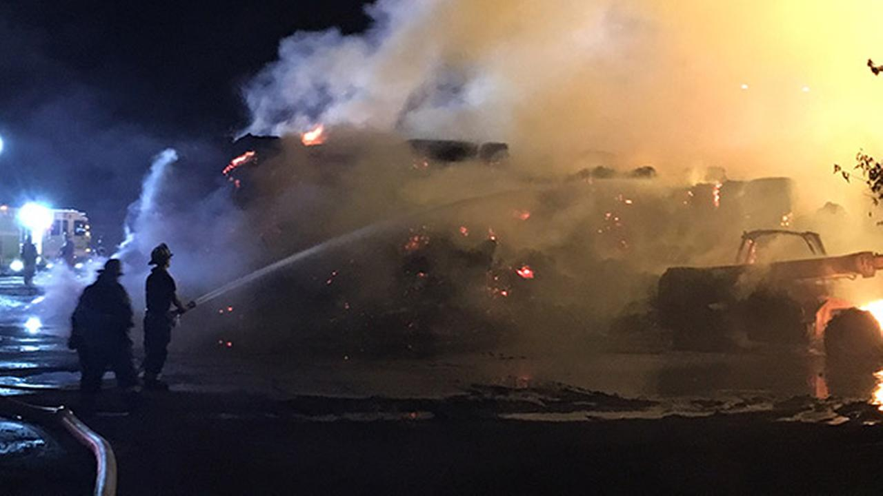 1,000 bales of hay erupt in flames at Pa. mushroom farm
