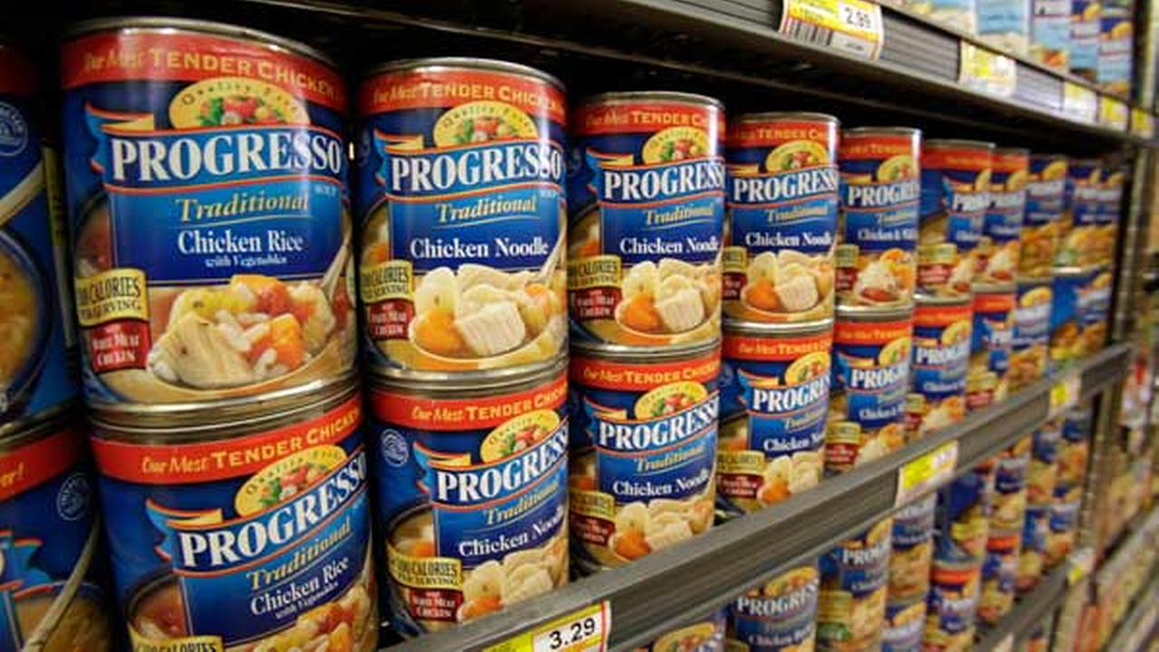 FILE: General Mills Progresso soups on display at a store.