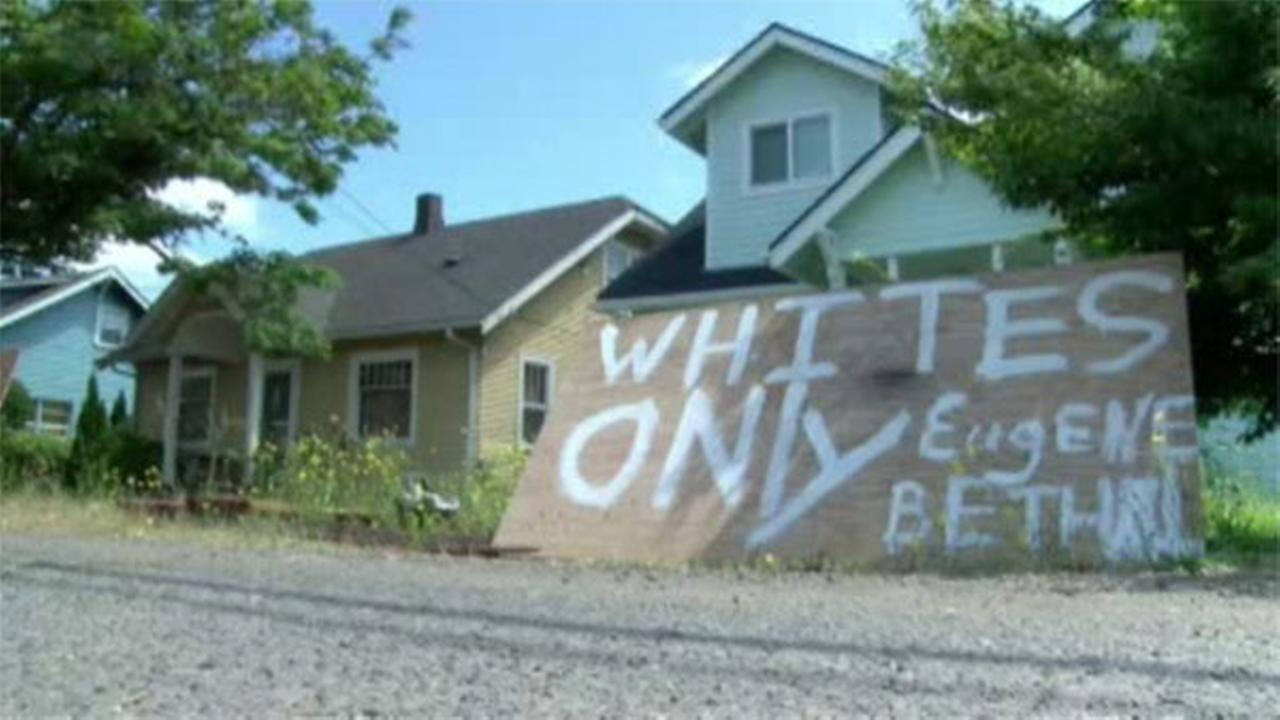 Whites only sign on house for sale in Oregon