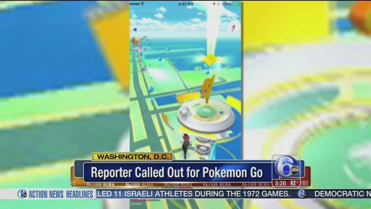 VIDEO: Reporter called out for playing Pokemon Go