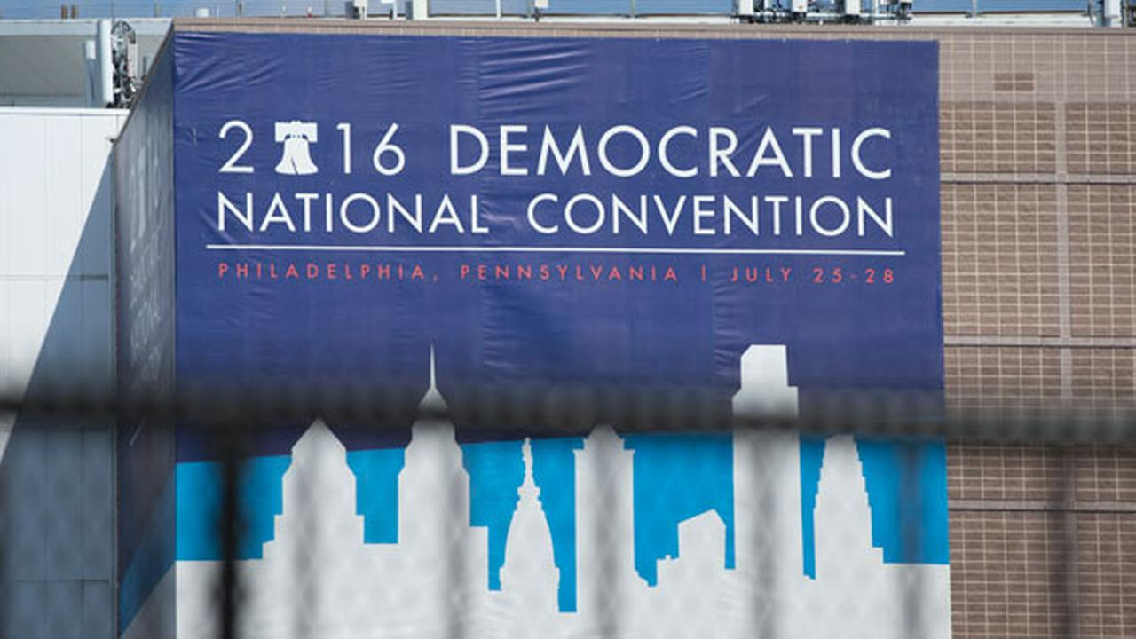 The Democratic National Convention Banner attached to Wells Fargo Center on Thursday, July 21, 2016 in Philadelphia, in preparation for the Democratic National Convention which con
