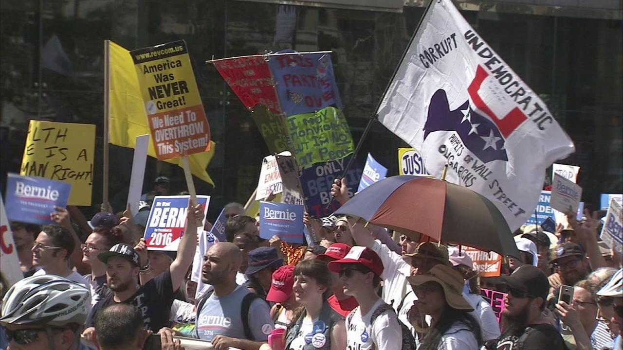 VIDEO: Bernie Sanders supporters protest in Philadelphia