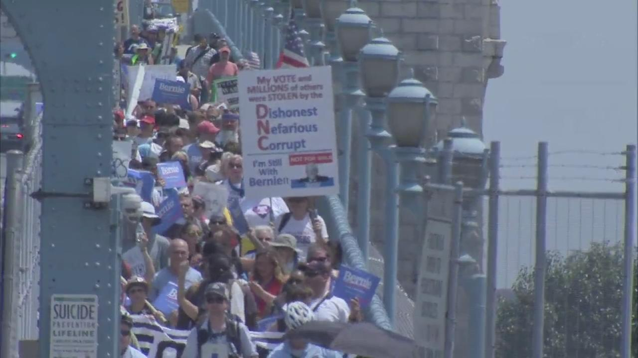 VIDEO: Protesters march along Ben Franklin Bridge