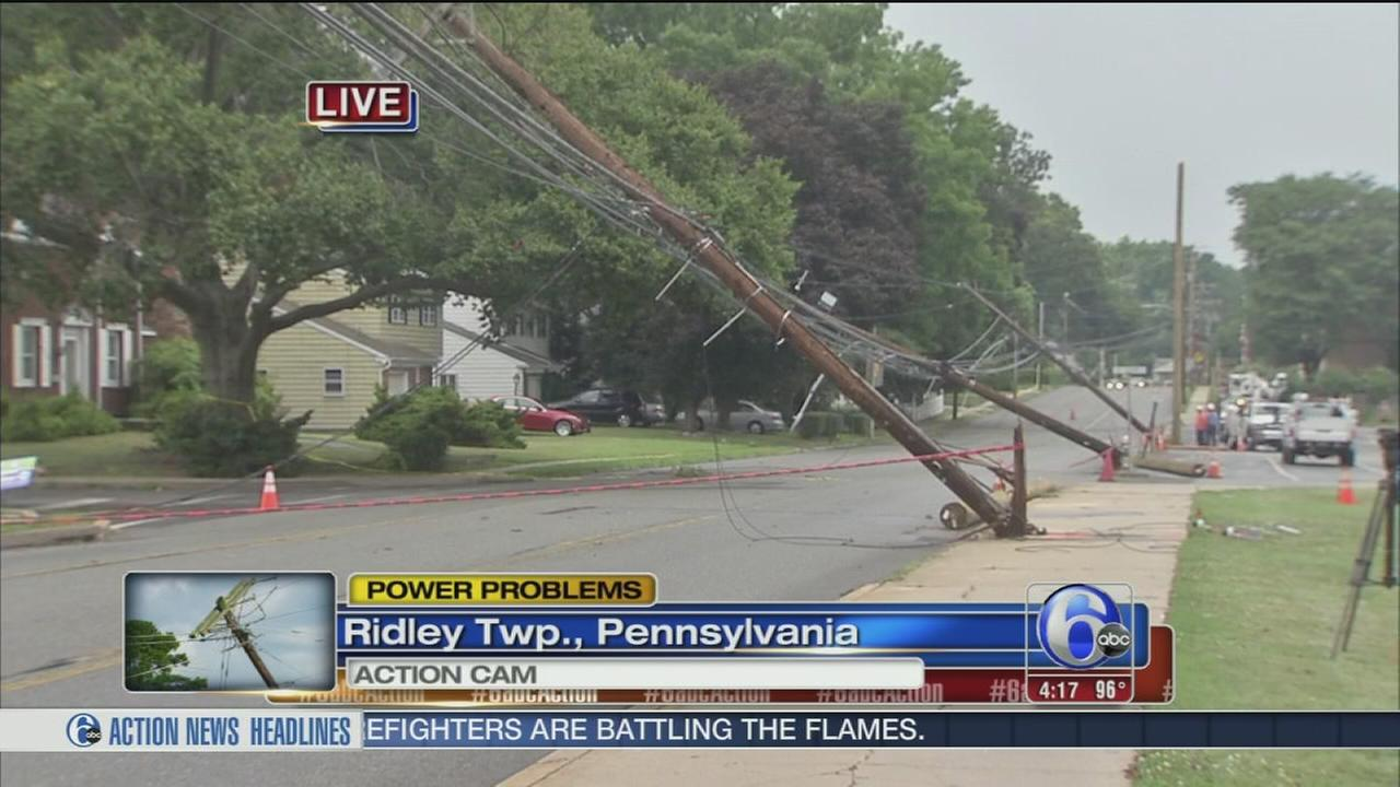 VIDEO: Crash cuts power in Ridley Twp.