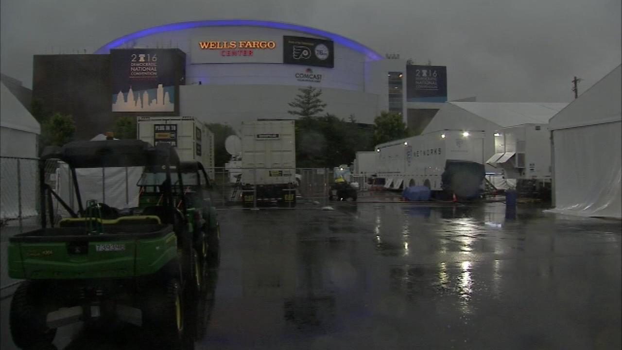 Storms hit the media center outside the Wells Fargo Center in Philadelphia during the Democratic National Convention on July 25, 2016