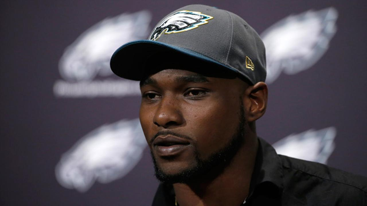 Nigel Bradham speaks during a news conference at the Philadelphia Eagles NFL football practice facility, Friday, March 11, 2016, in Philadelphia.