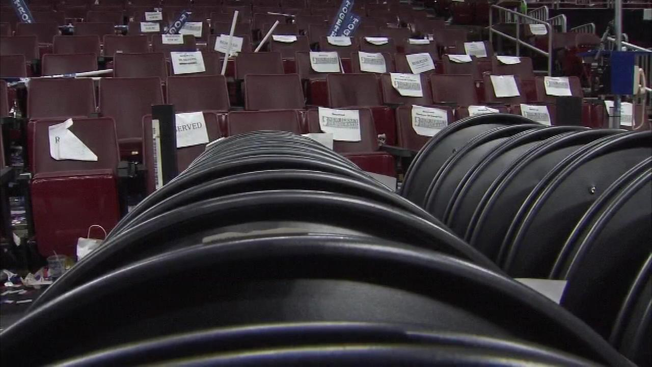 By Friday morning, the speeches and celebrations of the Democratic National Convention were over. It was time for crews to clean up the Wells Fargo Center in Philadelphia.