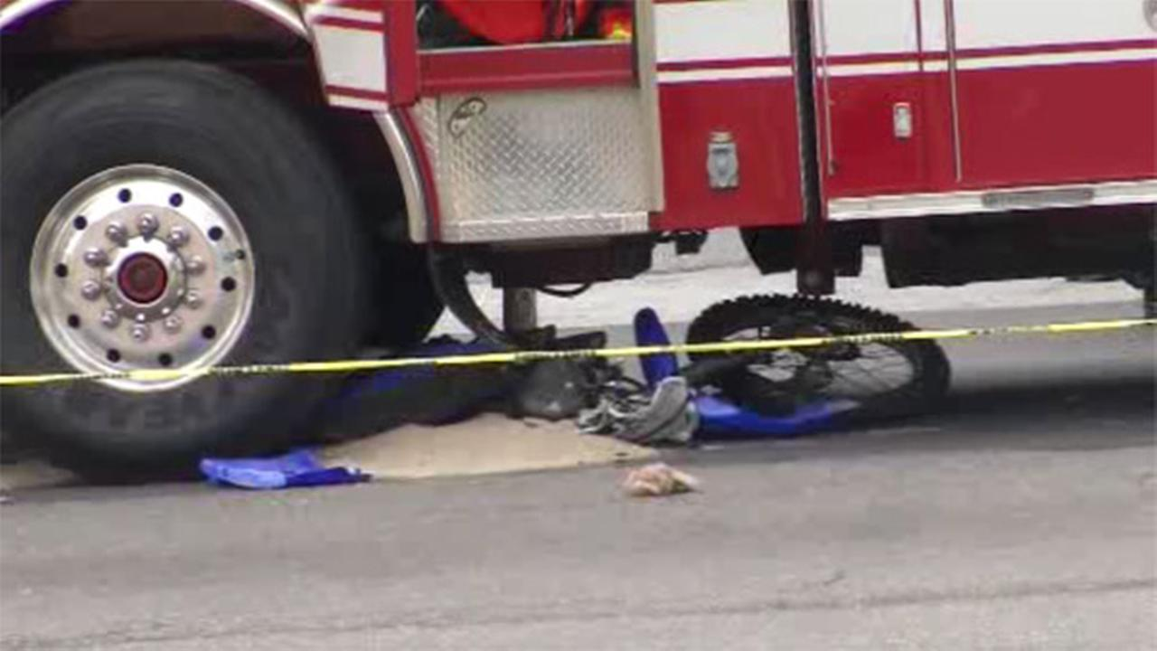 A fire truck responding to a 911 call struck a person riding a dirt bike in Wilmington, Delaware.