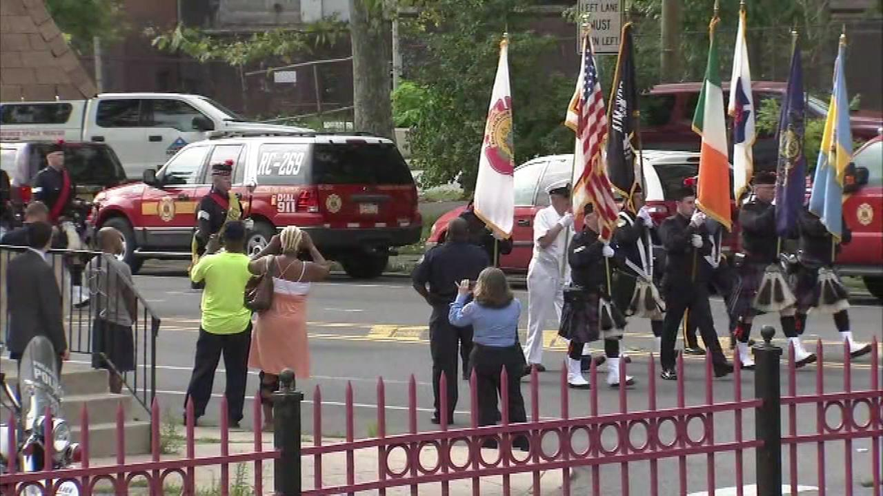 The funeral for firefighter Gabriel Lee on Tuesday, August 2, 2016