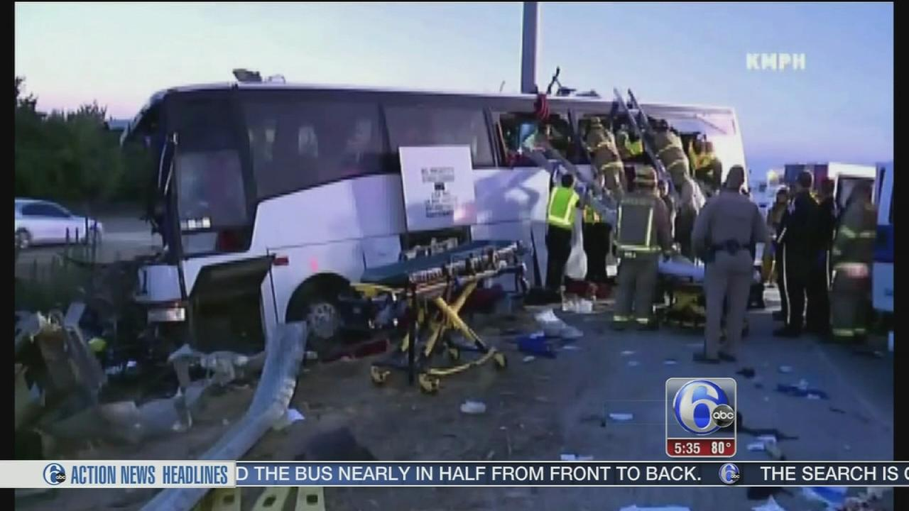 VIDEO: 5 dead in tour bus crash on California highway