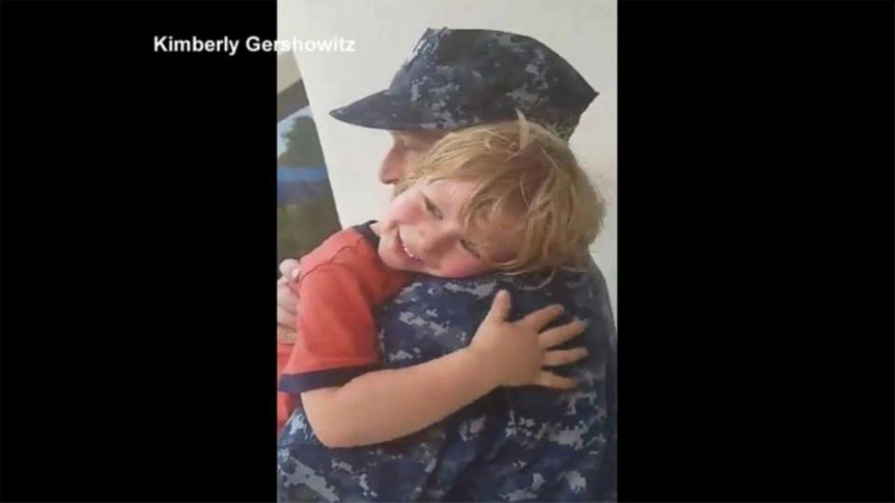 Boy has adorable reaction to dad returning home from deployment