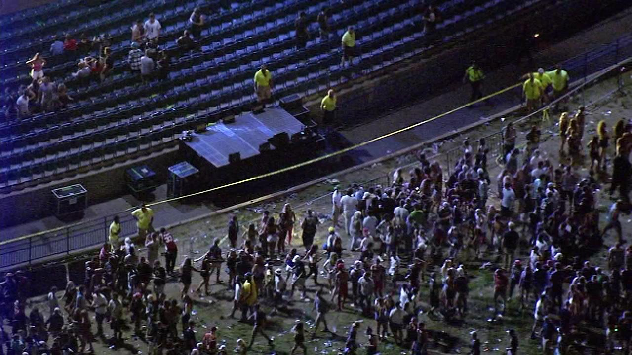 August 5, 2016: Authorities tell Action News a stretch of railing separating the crowd from a small temporary stage gave way when fans surged toward the stage.