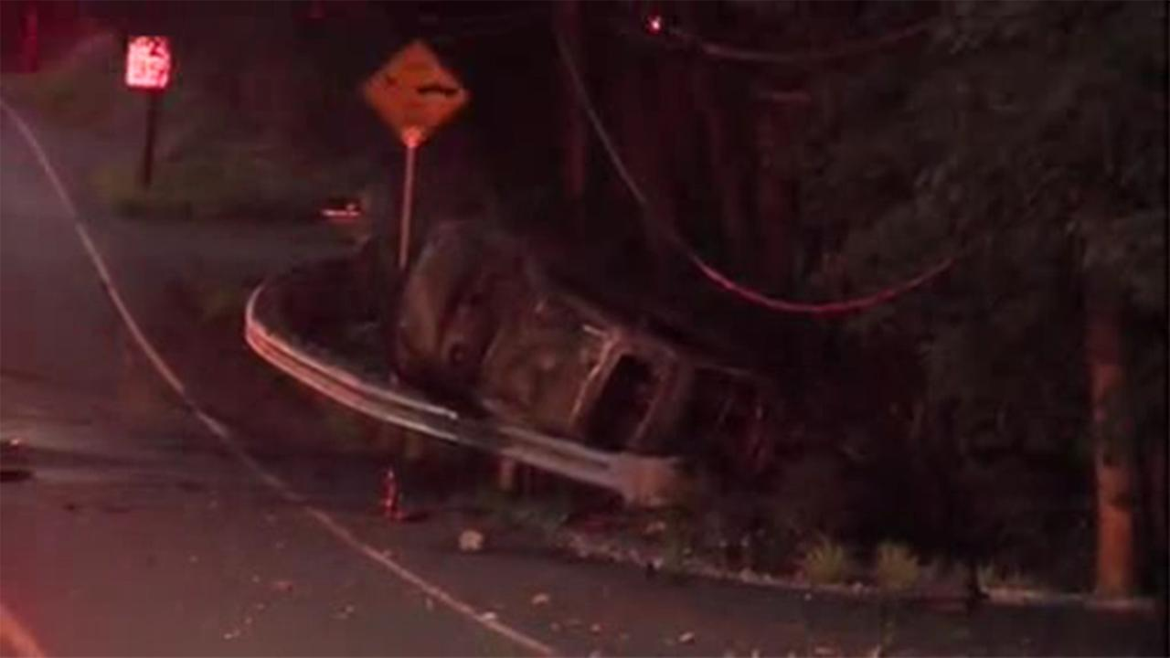 A driver was injured in a car crash and fire in Bucks County.