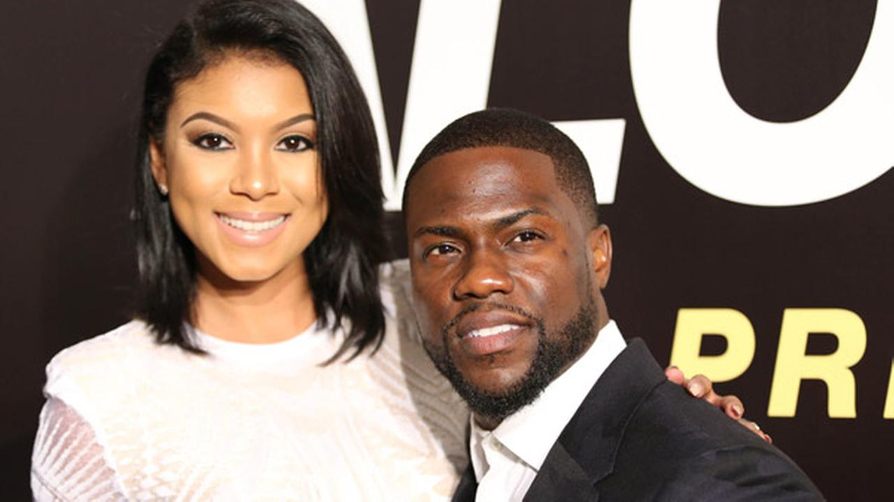 Eniko Parrish and Kevin Hart arrive at the world premiere of Ride Along 2 at Regal Cinemas South Beach 18 and IMAX on Wednesday, Jan 6, 2016, in Miami Beach, Fla.