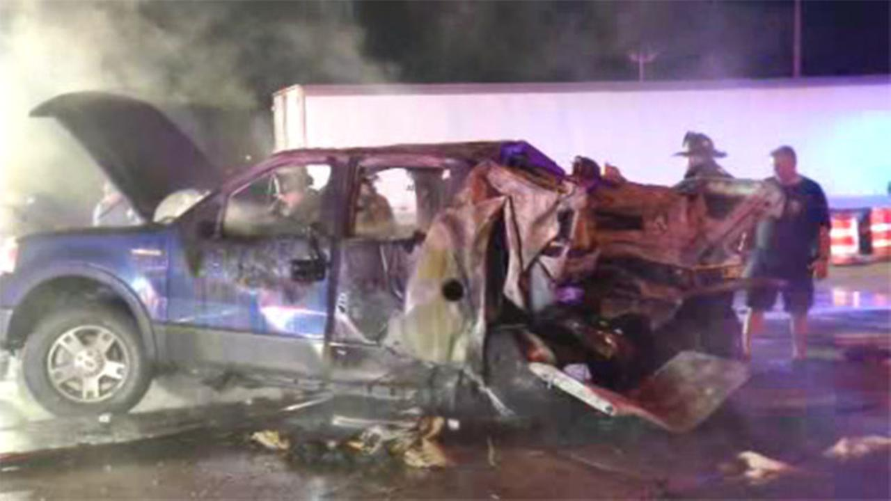 2 adults, 1 child injured in fiery Delaware crash