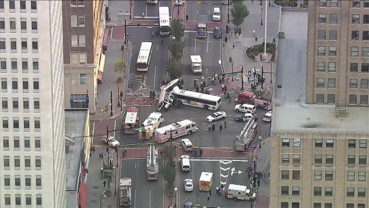 August 19, 2016: Two NJ Transit buses collided at North Broad Street and Raymond Boulevard in Newark, N.J. around 6 a.m.