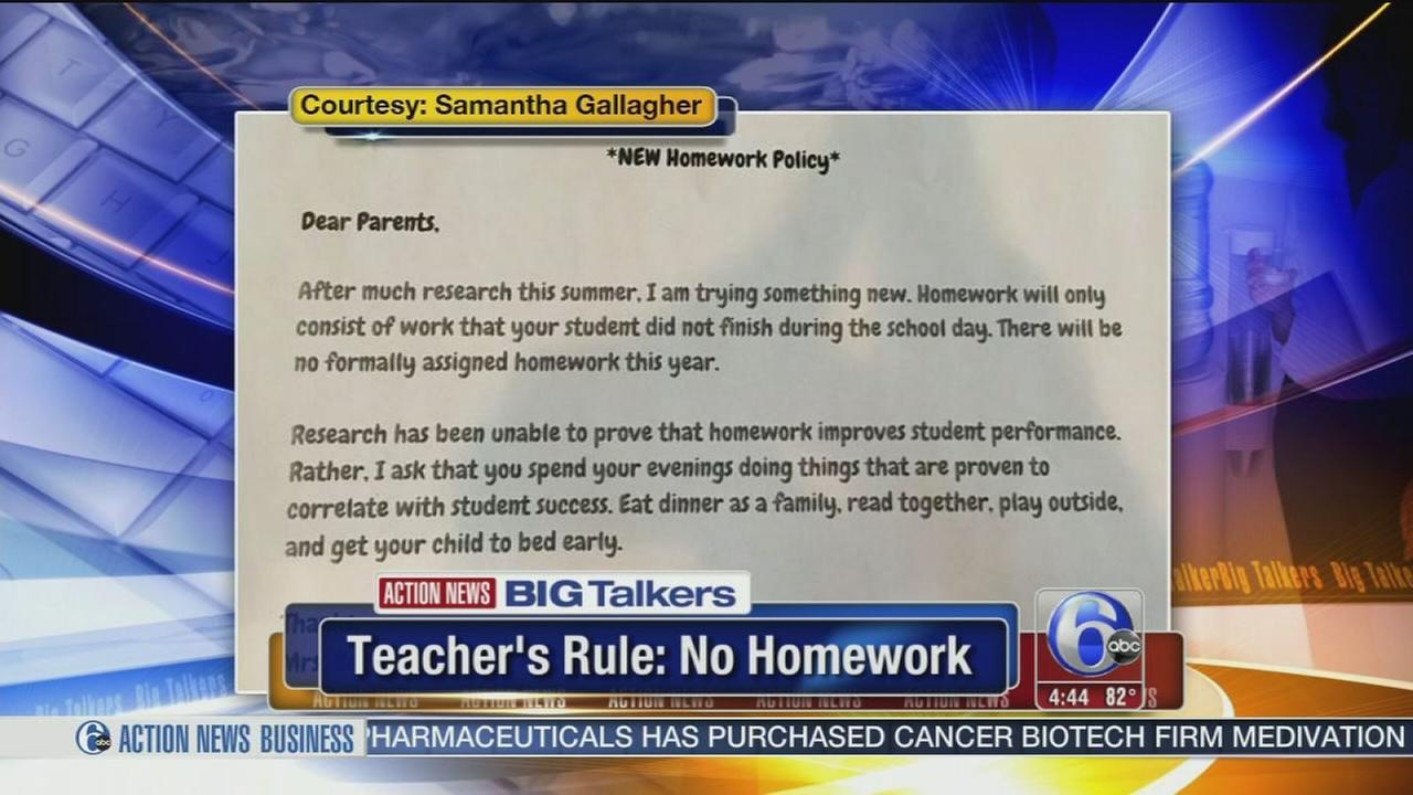 VIDEO: Teachers rule for no homework goes viral