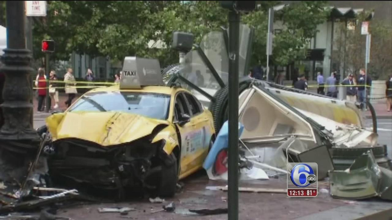 VIDEO: Taxi cab crashes into pedestrians in San Francisco