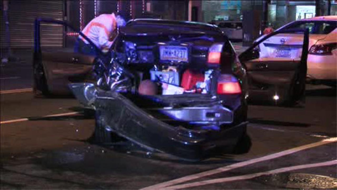 2 injured in 3-car crash in NE Philadelphia