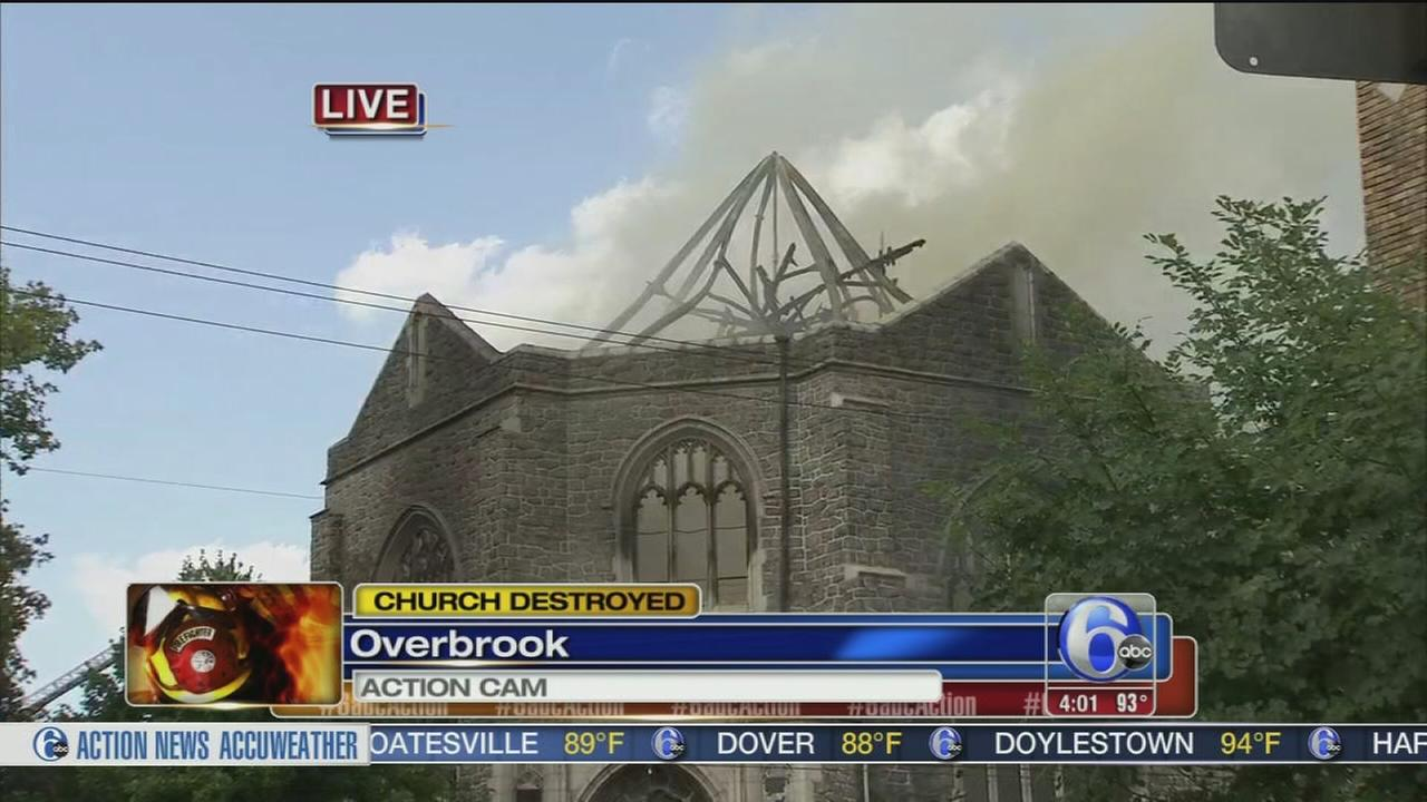 VIDEO: Church destroyed by fire in Overbrook