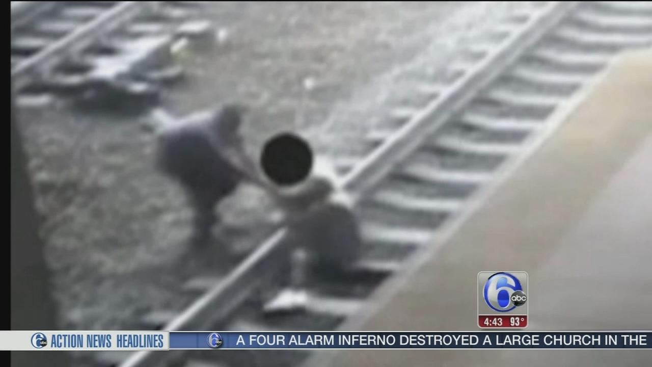 VIDEO: NJ Transit Cop saves man from train tracks