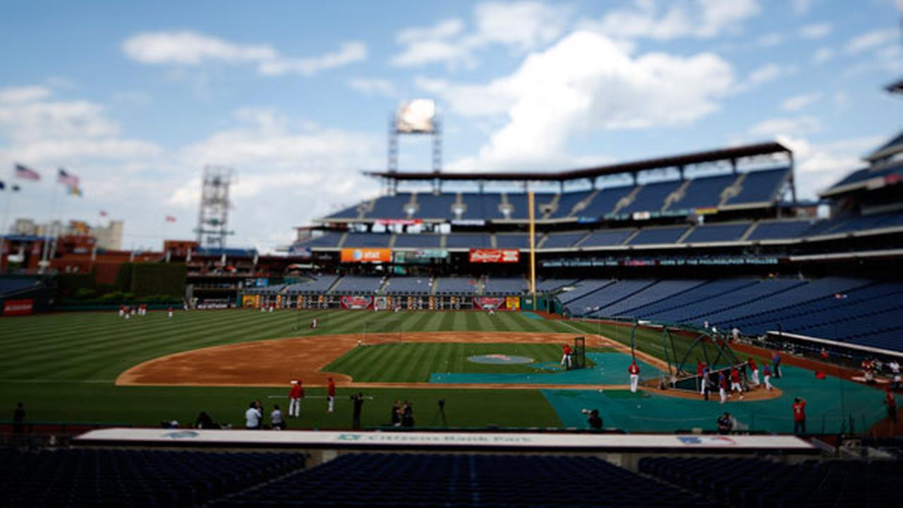 In this image made with a tilt shift lens, Citizens Bank Park is seen before a baseball game between the Philadelphia Phillies and the Los Angeles Dodgers , Friday, May 23, 2014.