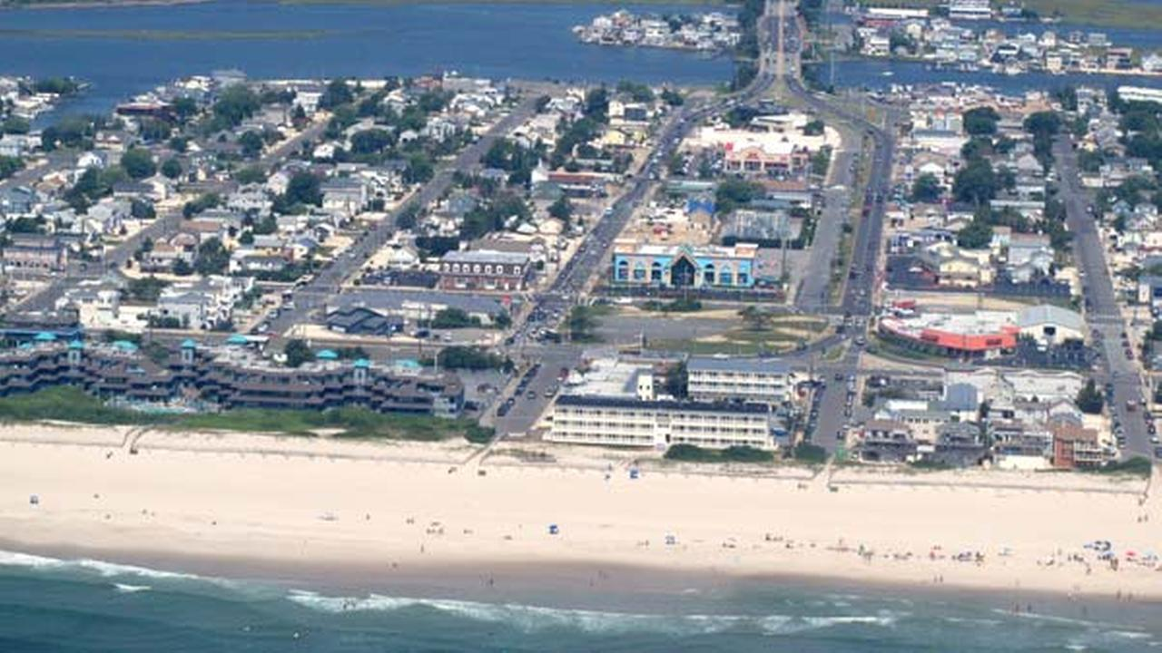 This July 11, 2014 aerial photo shows the beach at Ship Bottom N.J.