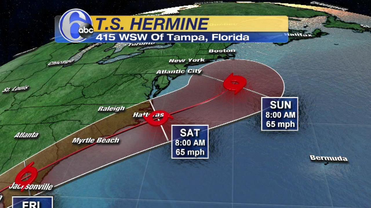 Pictured: The projected path of Tropical Storm Hermine as of Wednesday.