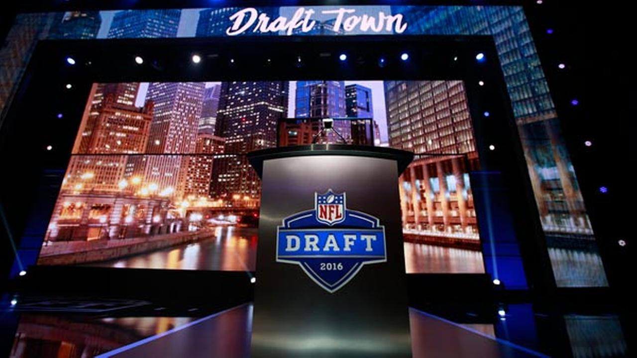 The podium and stage before the 2016 NFL Draft at the Auditorium Theatre in Chicago on Thursday, April 28, 2016.