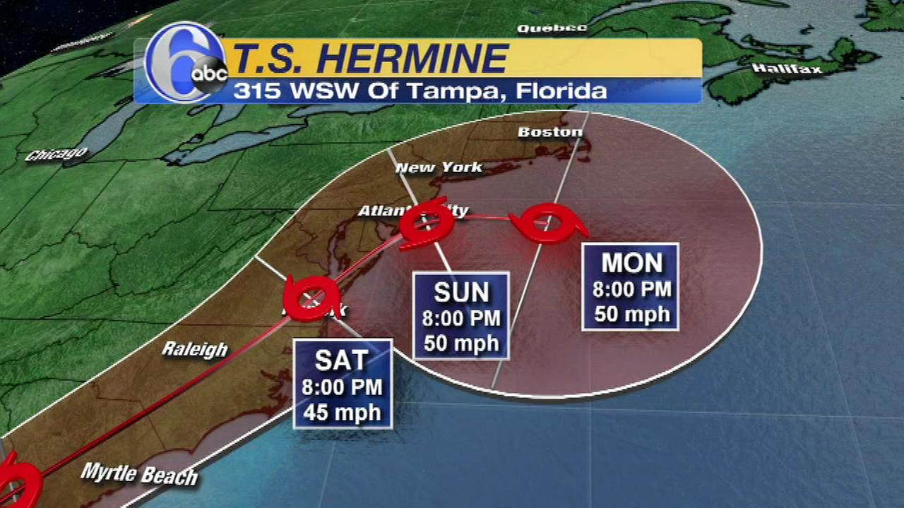 The track of Tropical Storm Hermine as of Wednesday evening.
