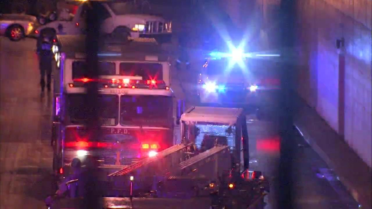 PICTURES: Scene of 5 firefighters injured in crash in Philadelphia