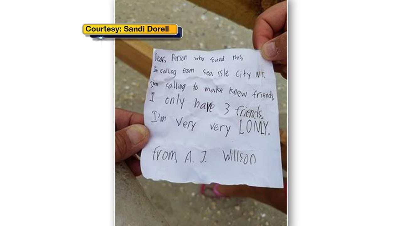 A South Jersey family, who stumbled upon a heartbreaking message in a bottle, is hoping someone can help them reply.
