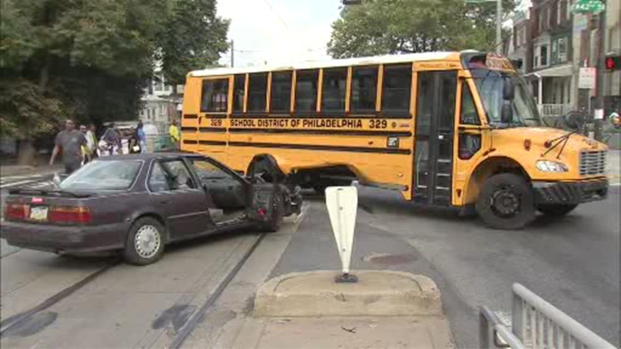 A Philadelphia school bus was involved in a crash in the citys Parkside section.