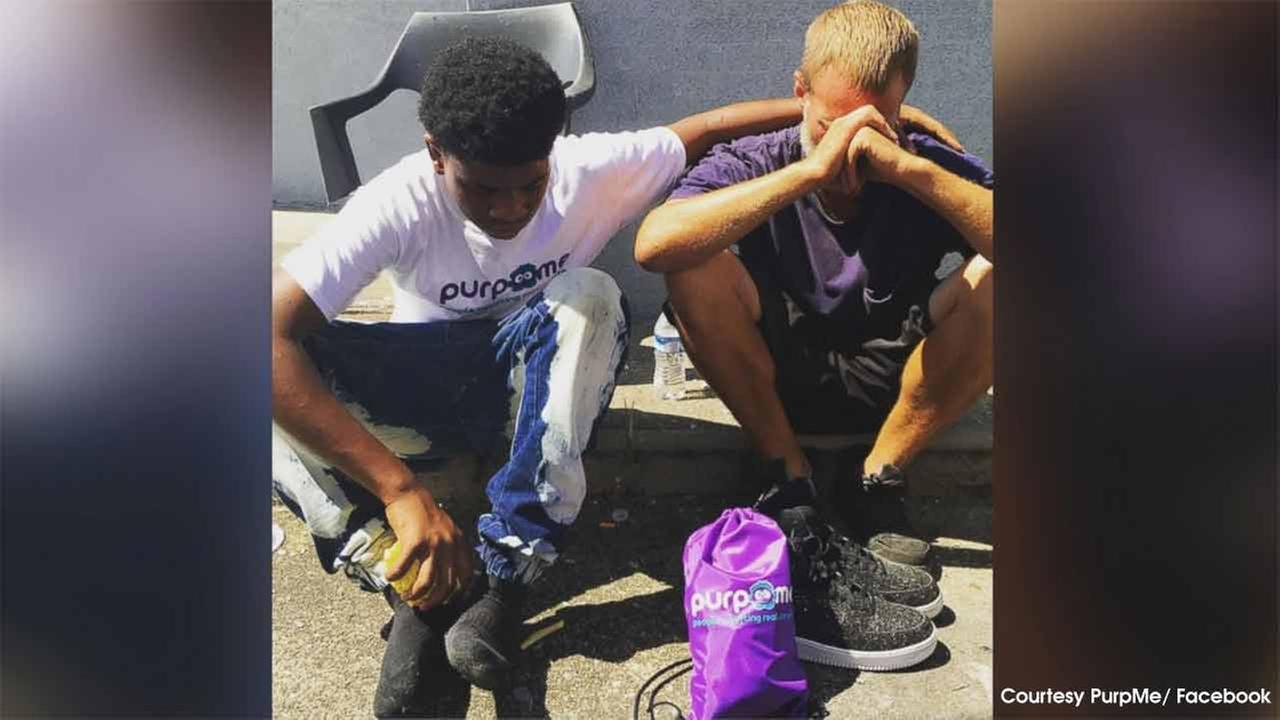Teen gives shoes to homeless man as part of effort to overshadow violence in neighborhood